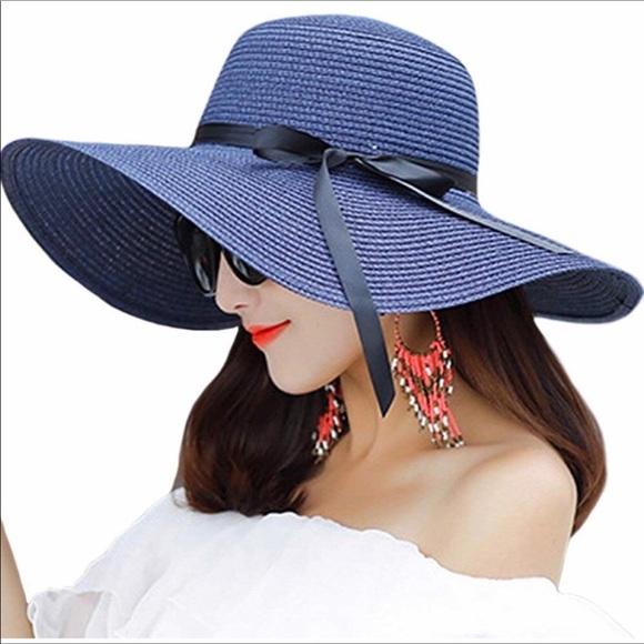 9eed85c9 Accessories | Womens Wide Brim Floppy Sun Hat Navy Blue | Poshmark